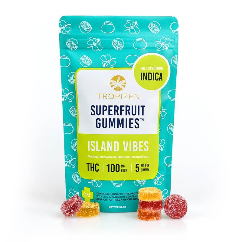 Tropizen's THC Infused Island Vibes Superfruit Gummies